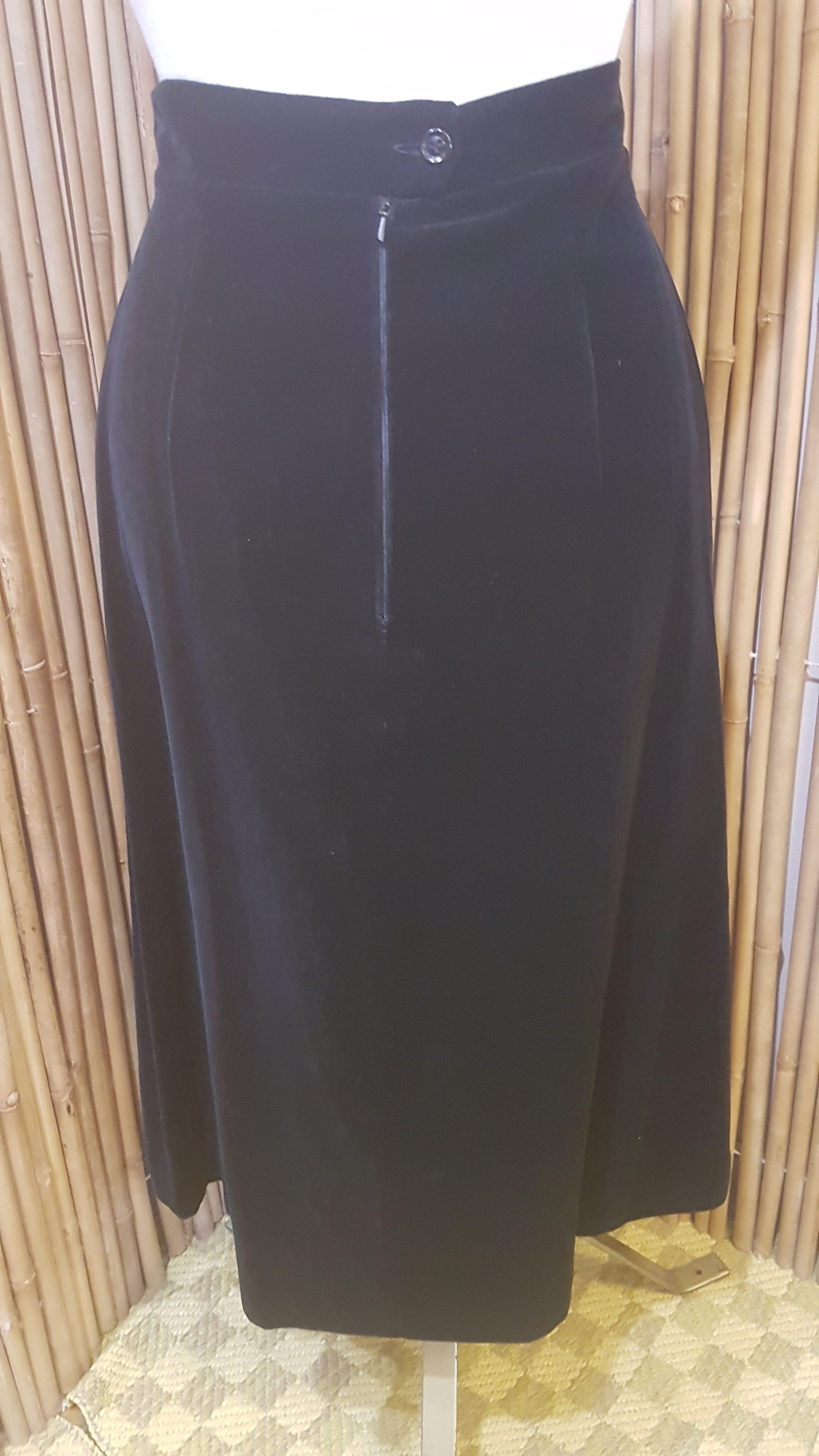 Womens Vintage Black Velvet Skirt Tornado Vintage